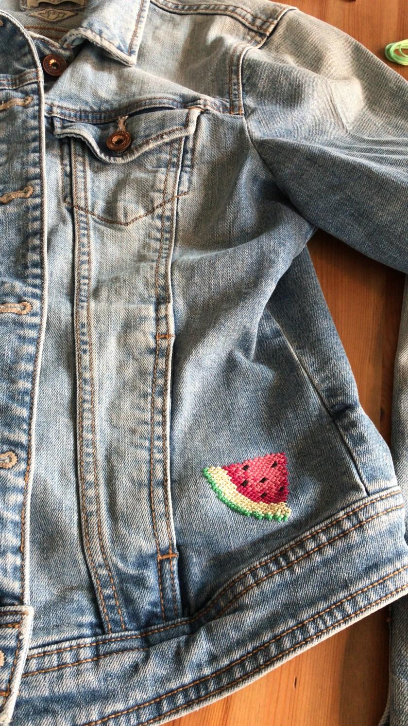 mlam noiram marion-lorraine Poncet broderie pastèque veste jeans