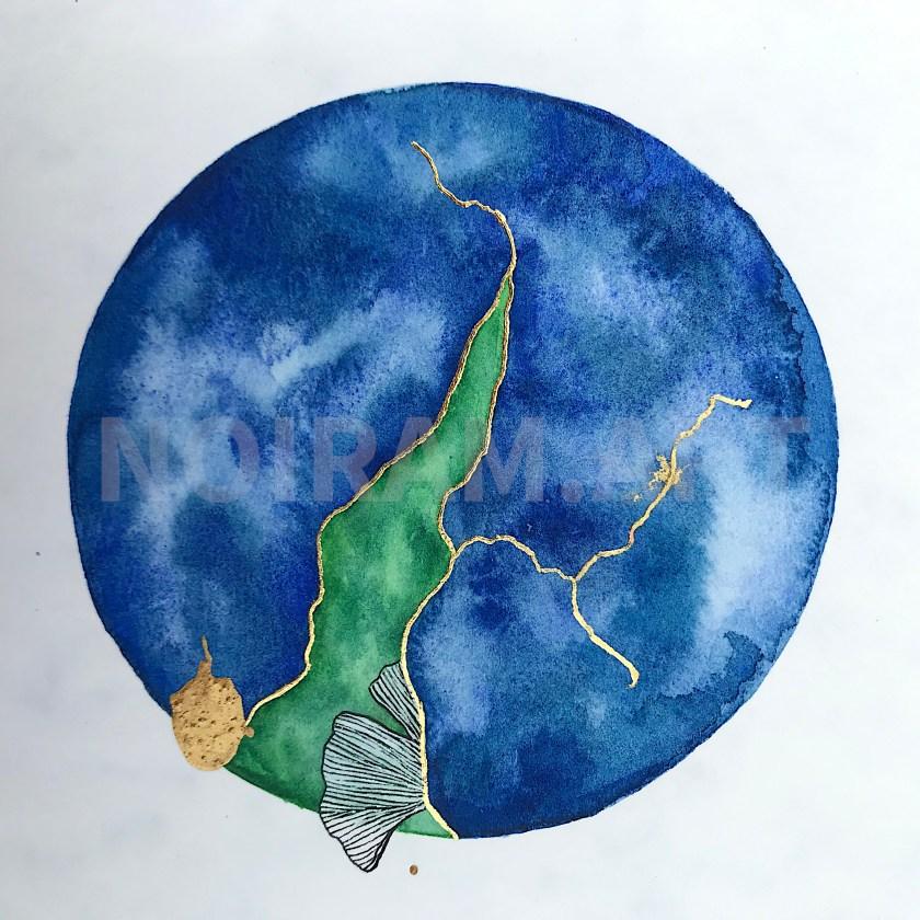 mlam noiram sous la surface planète gingko or dorure aquarelle