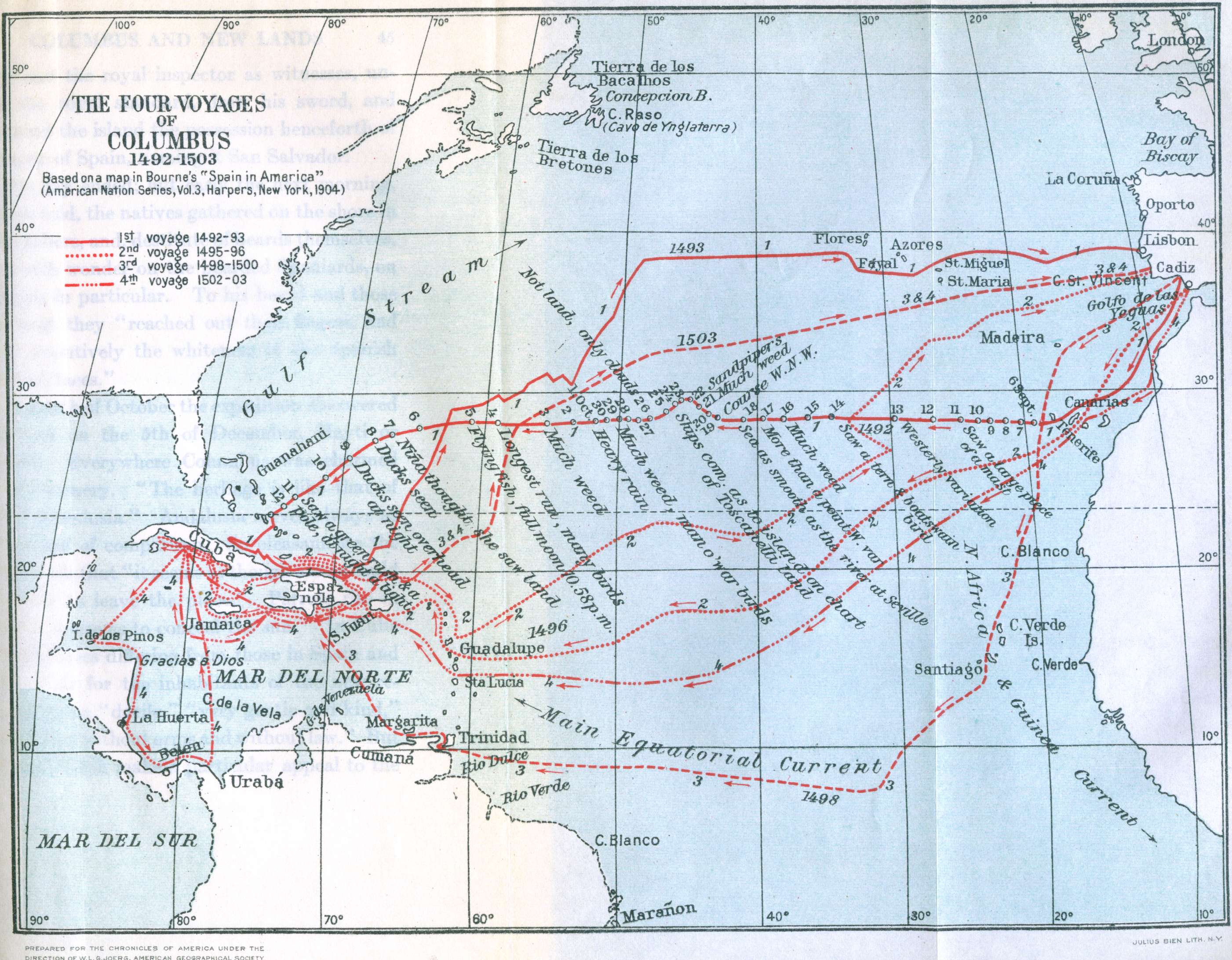 Map Of Columbus Voyages Nation Of Islam Research Group