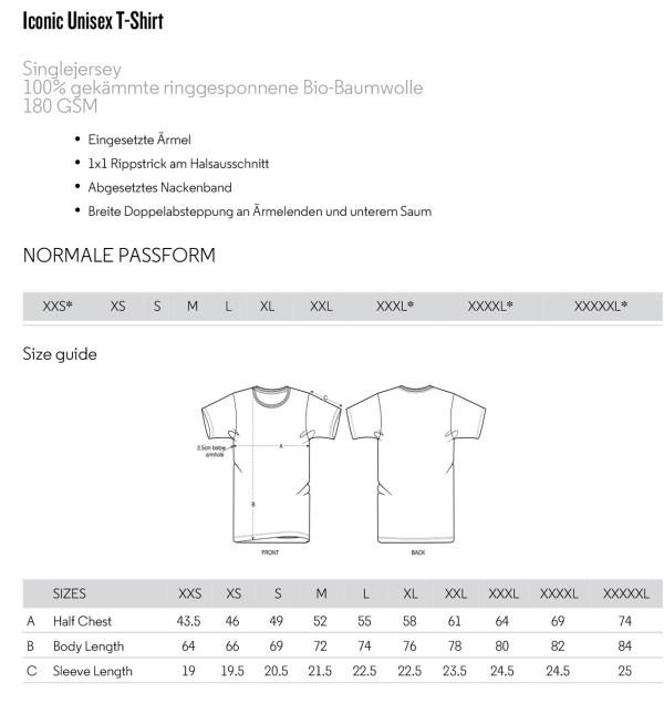 Größentabelle T-Shirts