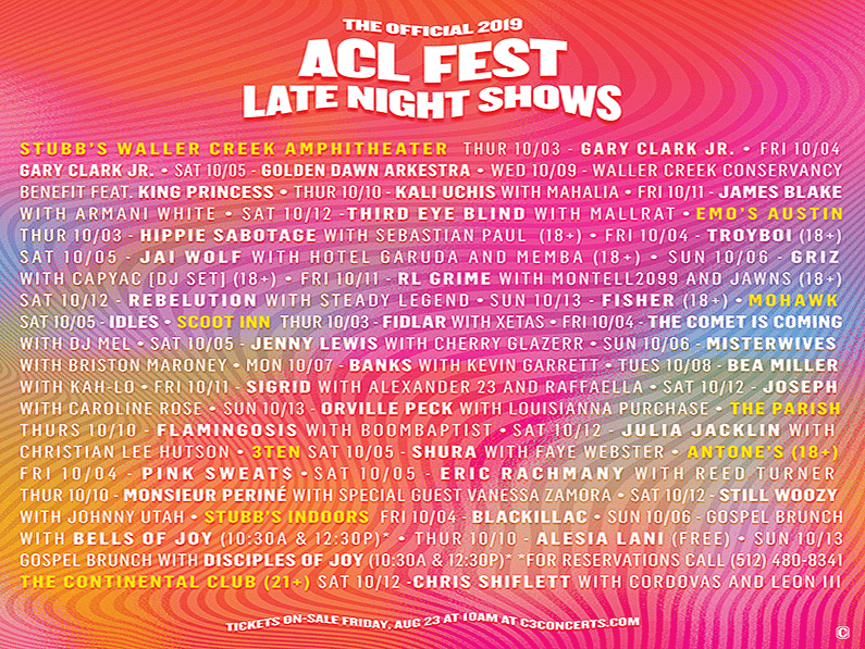 This Just In: ACL Fest awesome lineups for Late Night Shows