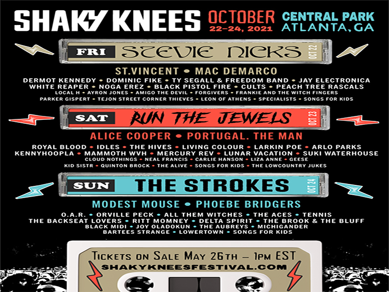 SHAKY KNEES LINEUP DROPS WITH STEVIE NICKS, THE STROKES AND RUN THE JEWELS