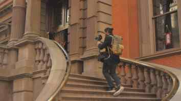 josh with glidecam stairs