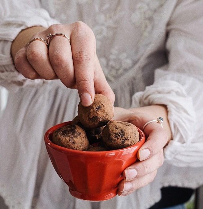 Truffes au chocolat noir à la fleur de sel