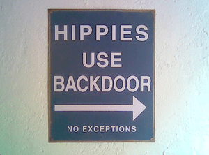 hippies use side door no hippys glastonbury