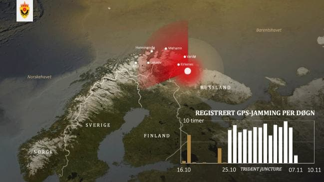 A map provided by Norway's intelligence service showing the source and intensity of GPS jamming signals. Picture: Norway Defence MinistrySource:Supplied