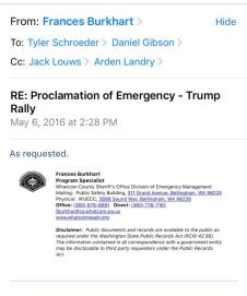 Selected email from Whatcom County personnel regarding Proclamation of Emergency for the May 2016 Lynden Trump Rally