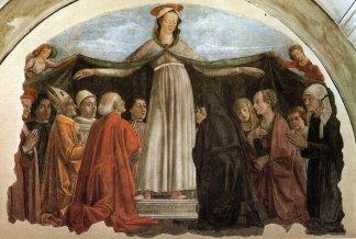 Madonna della Misericordia, Domenico Ghirlandaio, 1472, Capella Vespucci, Florencia.,