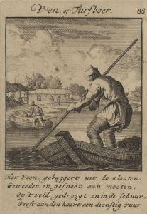 """De Veen- of Turfboer door Jan Luyken uit """"Het menselijk bedryf"""" - 1694"""