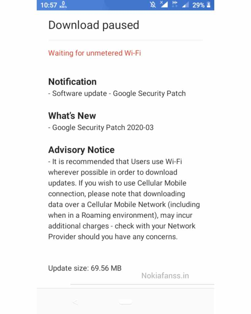 Image : Nokia 1 March 2020 security update