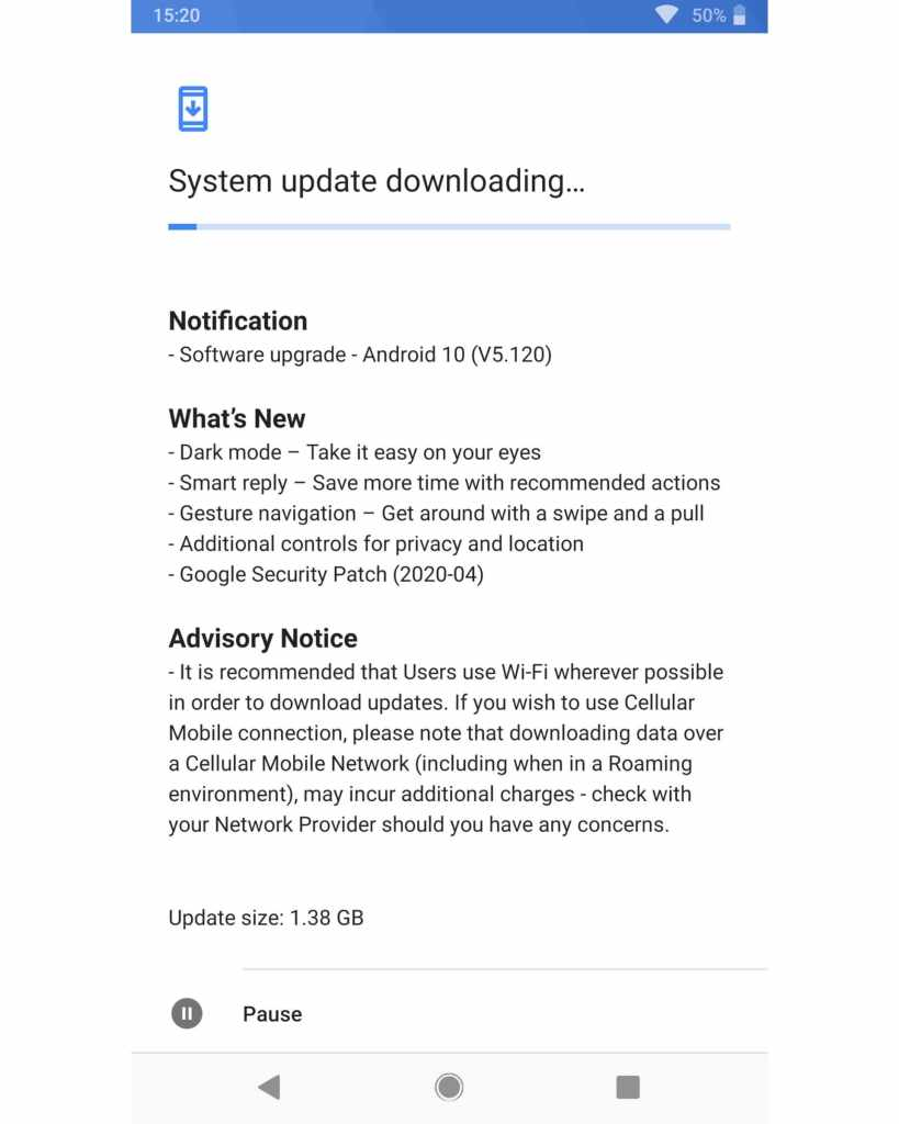 Image : Nokia 8 Sirocco Android 10 update