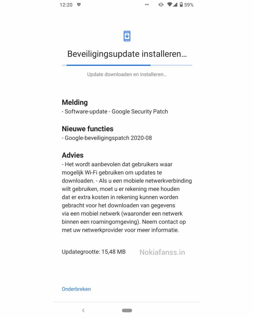 Image : Nokia 6.2 August 2020 security patch update