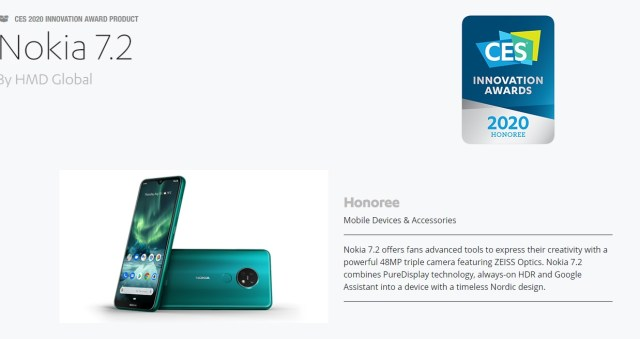 Best Phone Camera 2020.Nokia 7 2 Selected As An Honoree At The Ces 2020 Innovation
