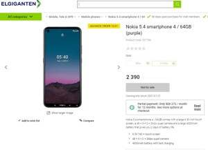 Nokia 5.4 has appeared in stores in Sweden