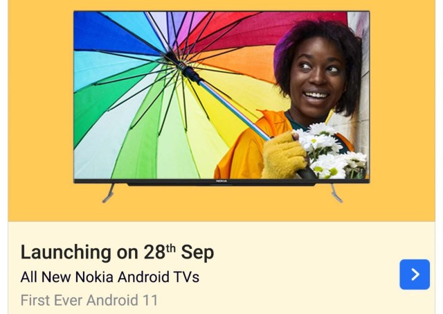 Nokia Android 11 TVs by Flipkart launch date