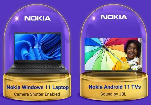 Nokia Windows 11 laptop and Nokia Android 11 TVs