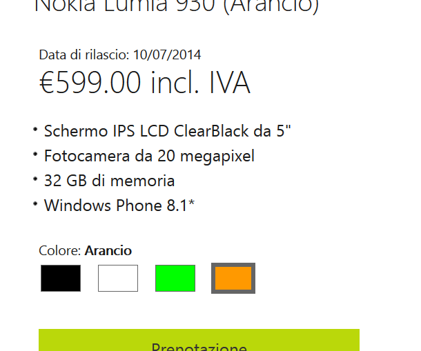 Lumia 930 release date Italy