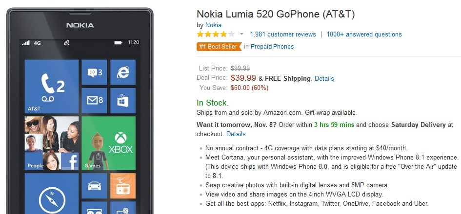 nokia lumia 520 price list. deal alert: at\u0026t lumia 520 for just $39.99. still the no.1 best-seller no-contract phone nokia price list