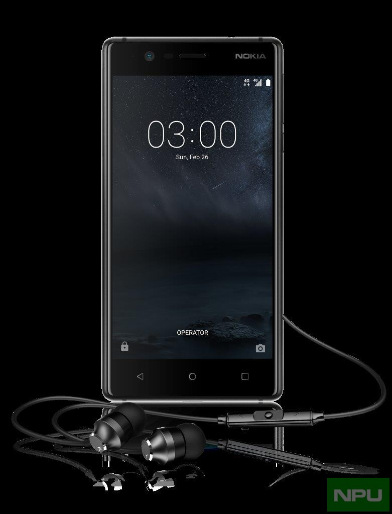 Nokia 3 with Nokia Stereo Headset WH-201