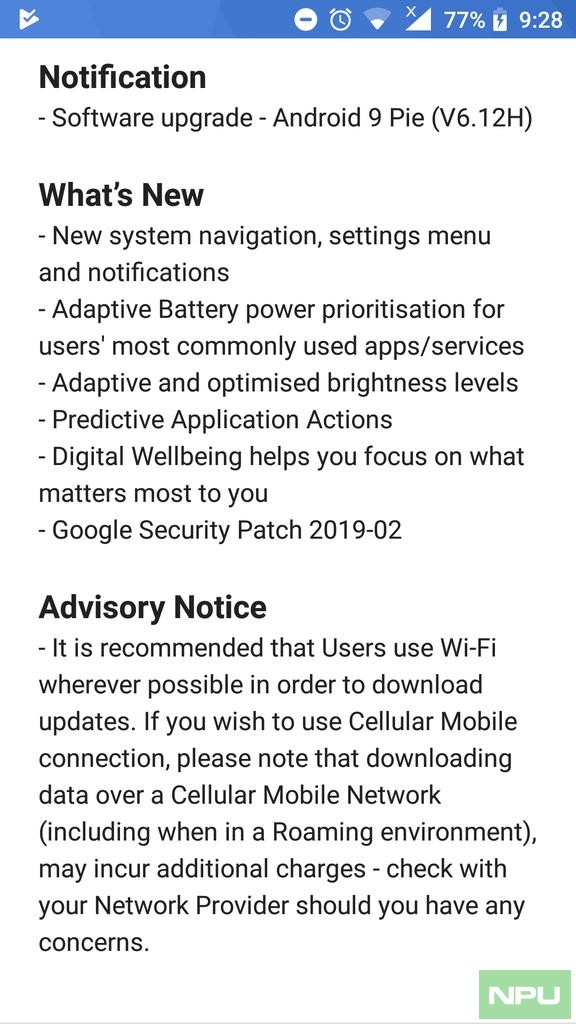 Samsung Pie Update List