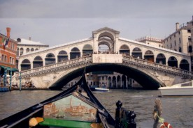 Venice's famous Rialto Bridge is lovely from the canal below.