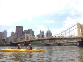 Andi and Amanda, with Pittsburgh as a backdrop.