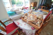 One of many piles of food in our mother's kitchen
