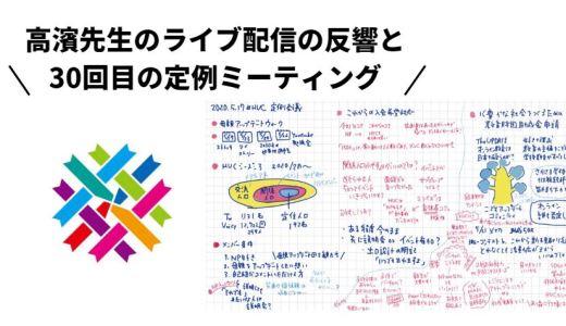 高濱先生のライブ配信の反響とHUC 30回目の定例ミーティング。