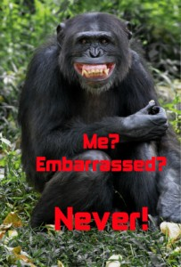 Gorilla embarrassment smile