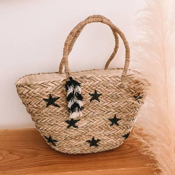 Ψάθινη τσάντα με μαύρα αστέρια