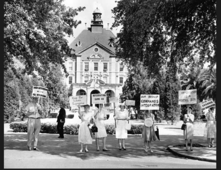 Protest held on June, 17, 1960, at the Chancery of the Archdiocese of New Orleans.