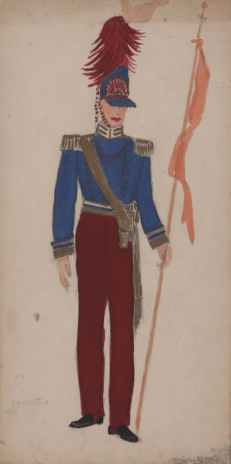 """Costume drawing, watercolor on board, Krewe of Venus, costume for float no. 14, """"Battle of Waterloo--English"""" not signed by the artist, dated 1954 on reverse"""