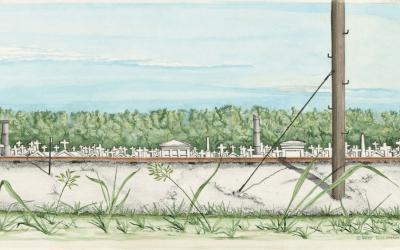Cemetery Scene with Railroad Tracks