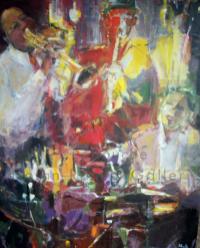 Jazz   NR4065A   80 Figure: 57 in. x 44 in.  Michele Lellouche   Oil on Canvas   Nolan-Rankin Galleries - Houston