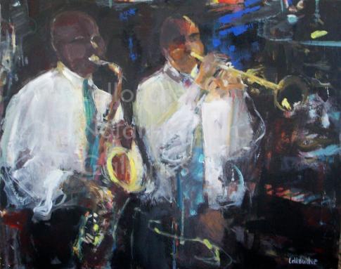 Les Jazzmen   NR5019  25 Figure: 31.75 x 25.5 in.   Michele Lellouche   Oil on Canvas   Nolan-Rankin Galleries - Houston