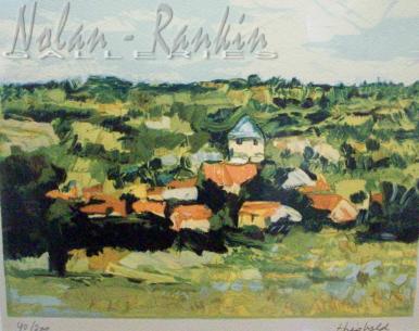 lithograph | Petit Village en Bourgogne | Renee Theobald | Nolan-Rankin Galleries - Houston