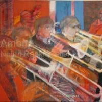 "Les Trombones NR2617 40 Figure: 39.5"" x 31.75"" Paul Ambille Oil on Canvas | Nolan-Rankin Galleries - Houston"