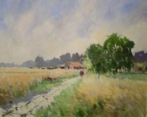 """La Ferme NR3323 30 Figure: 36.25"""" x 28.75"""" Jose Salvaggio Oil on Canvas"""