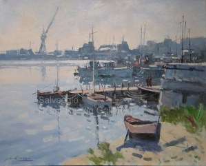 "Port de Normandie NR3329 25 Figure: 31.75"" x 25.5"" Jose Salvaggio Oil on Canvas"