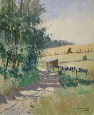 """Les Vaches NR 3348 12 Figure: 24"""" x 19.75"""" Jose Salvaggio Oil on Canvas"""
