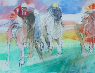 Les Petits Chevaux NR3535A 22 in. x 18 in. Paul Ambille - no date Mixed Media |Nolan-Rankin Galleries - Houston