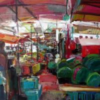 "Pasteques | NR3566 | 30 Figure: 36.25"" x 28.75"" | Michele Lellouche | Oil on Canvas | Nolan-Rankin Galleries - Houston"