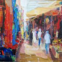 Marche Colore | NR3739 | 25 Figure: 31.75 x 25.5 in. | Michele Lellouche | Oil on Canvas | Nolan-Rankin Galleries - Houston