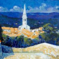 Saint Saturnain les Apts | NR3830 | 10 Figure: 25.5625 inches x 21.25 inches | Pierre Neveu | Oil on Canvas | Nolan-Rankin Galleries - Houston