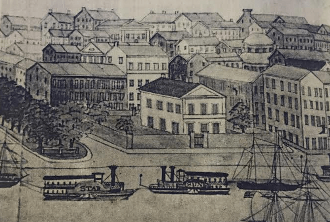 Drawing of Second Custom House - George Washington Sully