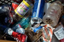 Common recyclables: beer, liquor, juice, water, and sports drink containers, plastic #1-7 Common non-recyclables: cigarette butts, cigar wrappers, candy wrappers, chip bags, fast food containers, and PLASTIC STRAWS, oh so many plastic straws.
