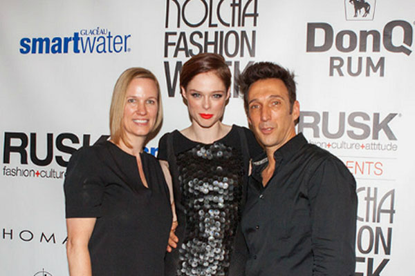 Heather Simmons - Vice President RUSK, Coco Rocha and Gerard Caruso - Artistic Director RUSK at Nolcha Fashion Week: New York presented by RUSK SS14
