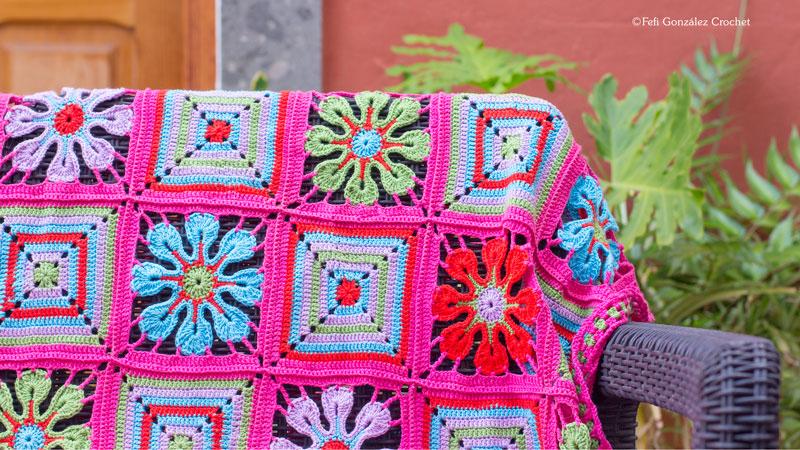 Detalle de colcha elaborada por Fefi González Crochet