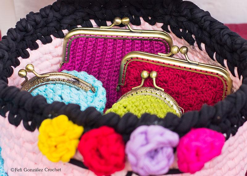 Monederos realizados a ganchillo por Fefi González Crochet