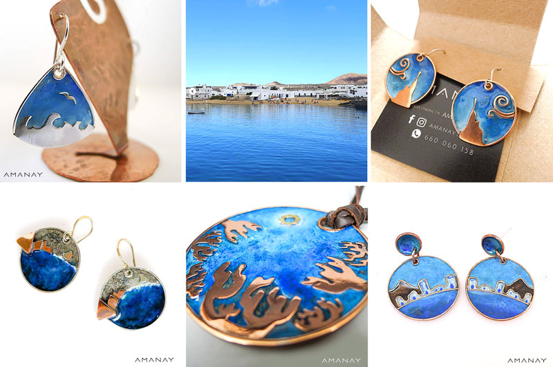 Mosaico de pendientes azules como el mar de la joyería AMANAY